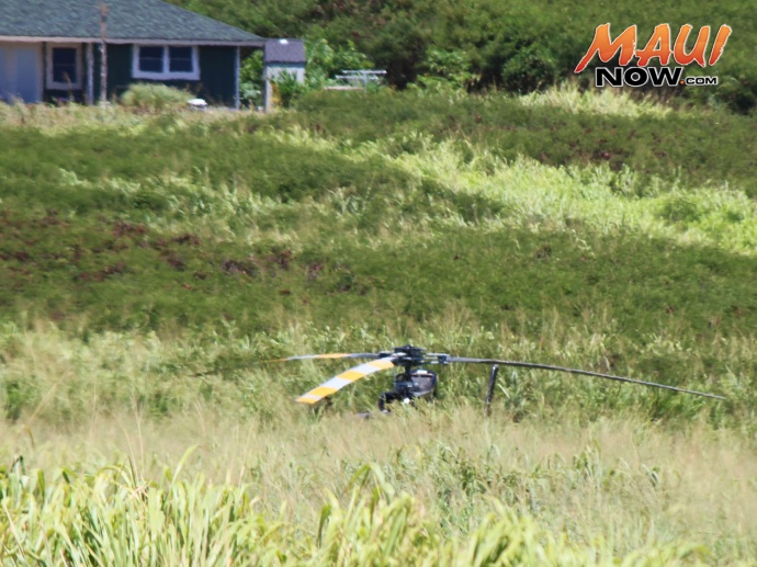 Helicopter hard landing in Waiheʻe. Photo by Wendy Osher.