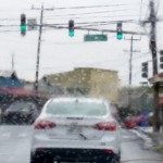 Rainy conditions at the Baldwin Avenue/Hāna Hwy intersection. Photo by Wendy Osher.