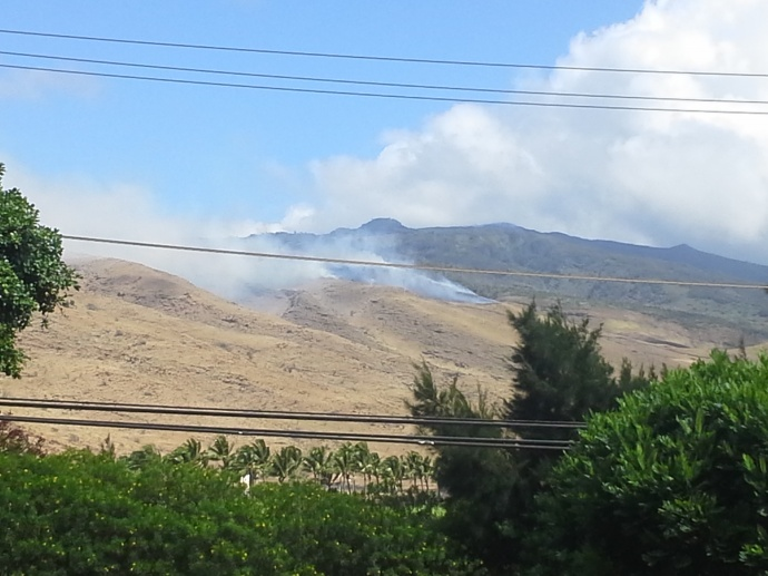 Brush fire near Ma'alaea, 7/29/2014. Photo courtesy Rick Nunyah.