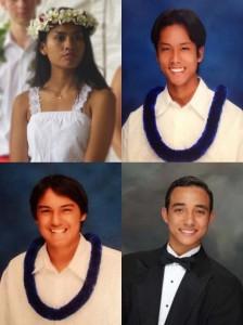 ʻAhahui Kaʻahumanu scholarship recipients (clockwise from top left): Nahenahe Anmei Norton-Tolentino; Daniel Kuiokalani Shigeo Quenga; Kekoa Burton Meanor; and TJ Makoa Kanichi Idemoto. Courtesy photos.