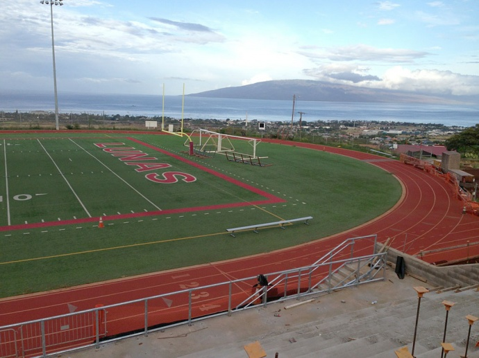 A state-of-the-art sports and events stadium being built at Lahainaluna High in West Maui will be named in honor of its primary benefactor, Sue D. Cooley. Courtesy photo.