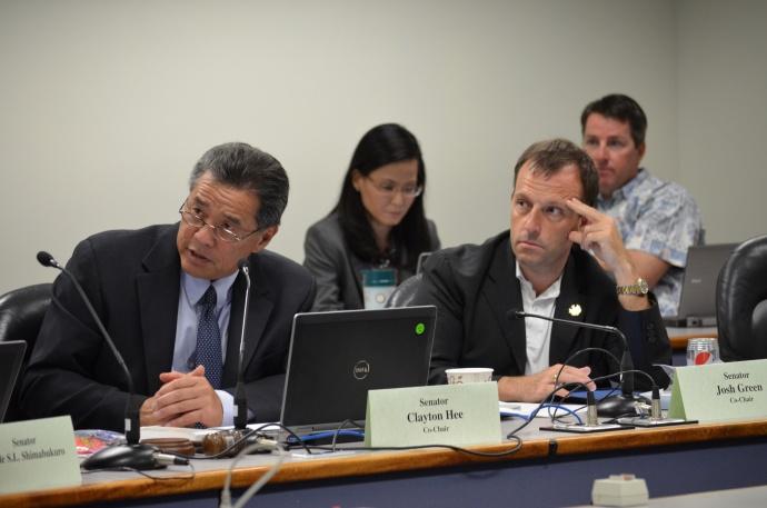 Photo courtesy of Senate Communications: Sen. Clayton Hee and Sen. Josh Green at the July 16, 2014 hearing.