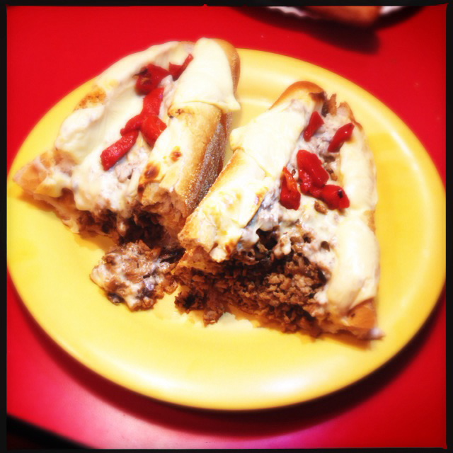 The Chicken Philly Cheese Steak sure as heck looks like beef. Photo by Vanessa Wolf