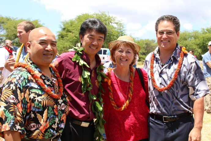 L to R: State Senator Gil Keith-Agaran, Lieutenant Governor Shan Tsutsui, State Senator Roz Baker, and State Senator J Kalani English were among the dignitaries attending the groundbreaking ceremony for the Central Maui Regional Sports Complex. Photo by Wendy Osher.