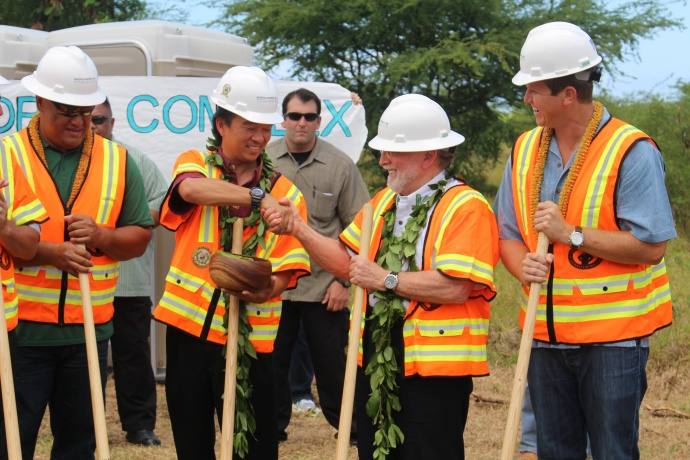 Lieutenant Governor Shan Tsutsui shakes hands with Governor Neil Abercrombie as they participate in the groundbreaking of the Central Maui Regional Sports Complex. Photo by Wendy Osher.