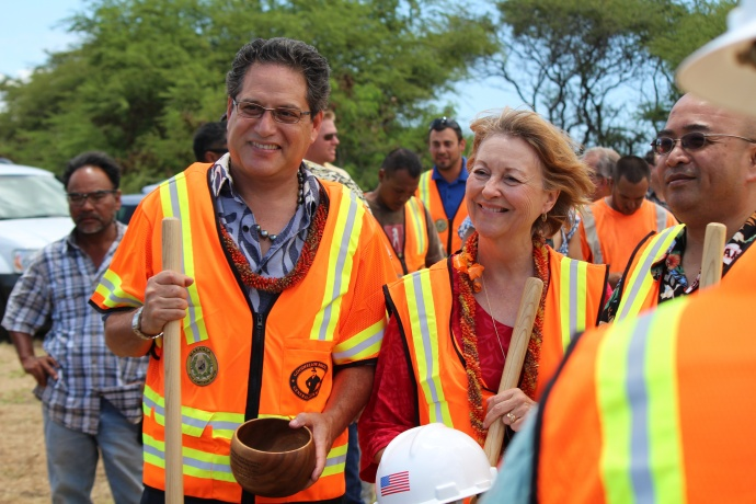 Maui's senatorial delegation (L to R) J Kalani English, Roz Baker, and Gil Keith-Agaran. All were in attendance at the groundbreaking ceremony for the new Central Maui Regional Sports Complex. Photo by Wendy Osher.