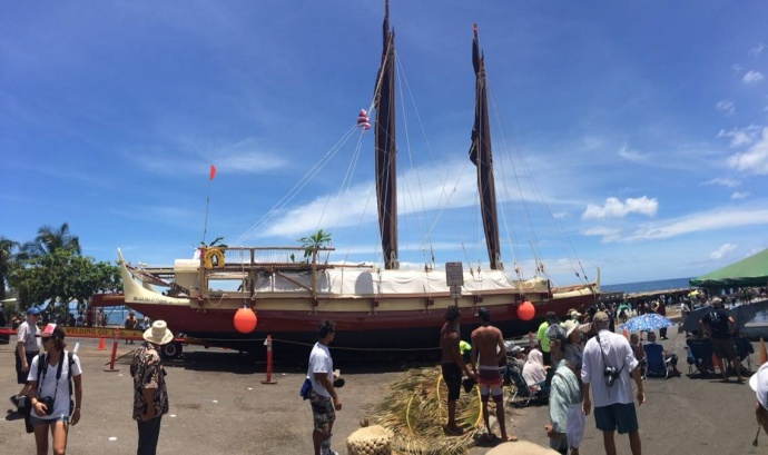 Maui's voyaging canoe, the Mo'ohika o Pi'ilani. Photo courtesy Eric Gilliom.