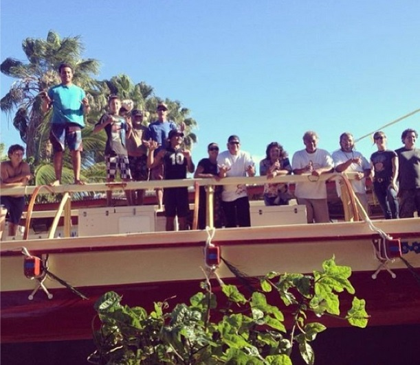 Volunteers aboard the Mo'okiha o Pi'ilani voyaging canoe. Hui ' Wa'a Kaulua photo.