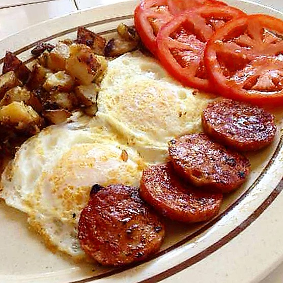 Portuguese Sausage and Eggs. Photo by Vanessa Wolf