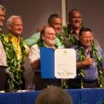 Those taking part in Monday's signing ceremony were, from left, OHA CEO Kamana'opono Crabbe, Honolulu Mayor Kirk Caldwell, Gov. Neil Abercrombie, Hawaii County Mayor Billy Kenoi, Maui Mayor Alan Arakawa and Kauai Mayor Bernard Carvalho. Courtesy photo.