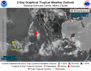 The National Hurricane Center is issuing advisories on Tropical Storm Hernan, located a few hundred miles west-southwest of the southern tip of the Baja California peninsula. Image courtesy NWS/NOAA/Central Pacific Hurricane Center.