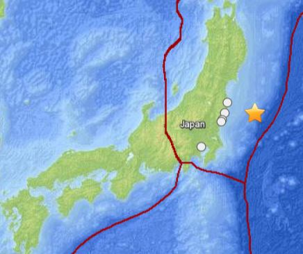 The location of today's earthquake off the coast of Honshu, Japan. USGS image.