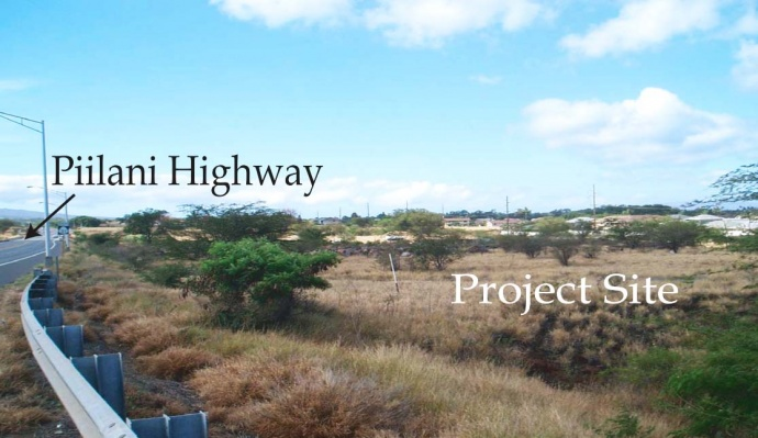 Kenolio Apartment proposed project site. South view, looking at the proposed project site from the intersection of Kaʻonoʻulu Street and Piʻilani Highway. Photo courtesy state of Hawaii, DEA document prepared by Chris Hart & Associates.