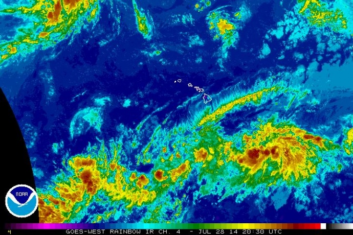 Central Pacific satellite imagery for 7/28/14.  Image courtesy NOAA/NWS/Central Pacific Hurricane Center.