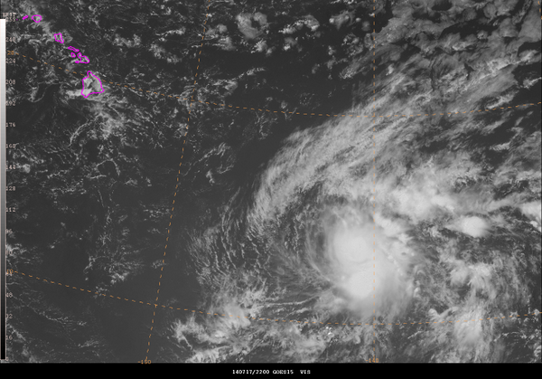 #GOES visible satellite image from 2200 UTC on 07/17/14 of #TropicalStorm #Wali in the central #Pacific SE of #Hawaii