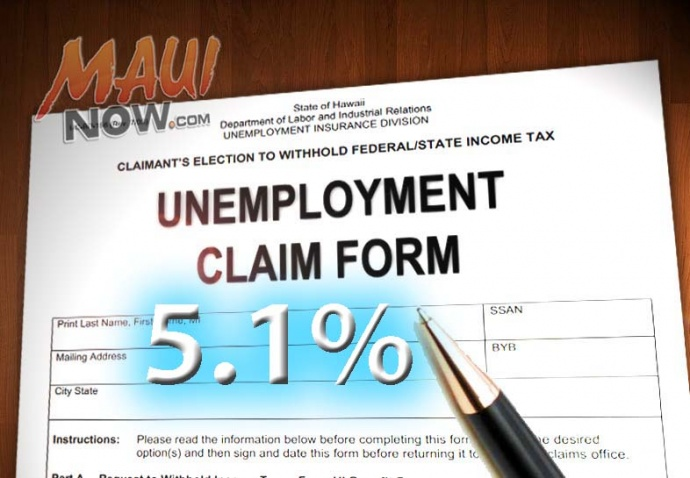 Maui County's unemployment rate fell to 5.1% in June. Maui Now graphic.