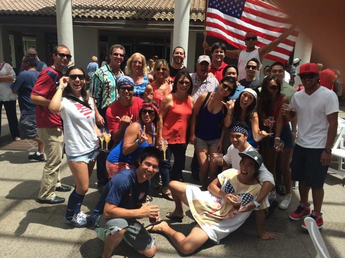 World Cup soccer fans at the Maui Arts & Cultural Center. Photo courtesy Ashley Takitani.