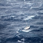 The Coast Guard is coordinating the rescue of 42-foot sailboat Walkabout caught in Hurricane Julio 414 miles northeast of Oahu, Aug. 10, 2014. Walkabout is disabled and taking on water with three people aboard. (U.S. Coast Guard courtesy photo)