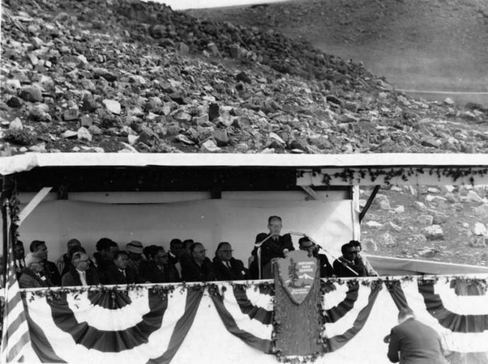 1961 dedication ceremony: Haleakalā NP became a separate National Park unit on July 1, 1961.  Courtesy photo, Haleakalā National Park.