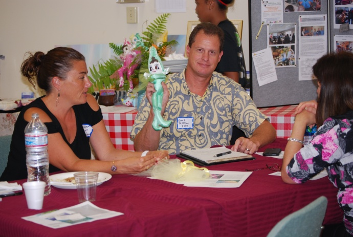 First Hawaiian Bank Vice President and Business Banking Team Leader Bard Peterson is one of the many bankers who volunteered time to  review business plans and products of Core Four graduates.  Photo courtesy MEO.