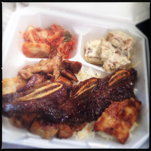 The Kalbi and Chicken Plate. Photo by Vanessa Wolf