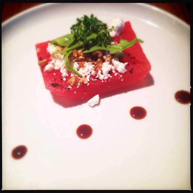 The Watermelon Salad won't exactly fill you up, but it's divine going down. Photo by Vanessa Wolf