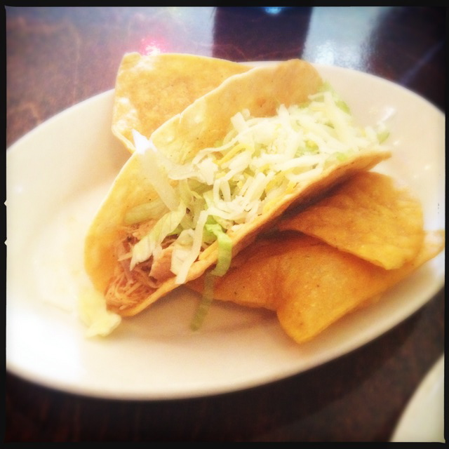 A HH Chicken Taco ($2) as our