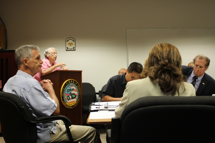 Only one individual (Sally Reisbeck) was signed up to testify at the Maui Police Commission meeting held on 8/20/14. Photo by Wendy Osher.