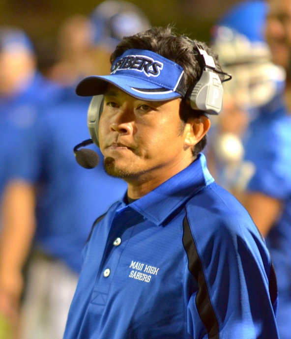 "Maui High head coach David Bui said Friday's 28-7 win over Kealakehe was a good ""eye opener for us."" Photo by Rodney S. Yap."