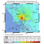 Northern California shake map, 8/24/14. Contributed by Northern California Seismic System, UC Berkeley and USGS Menlo Park.