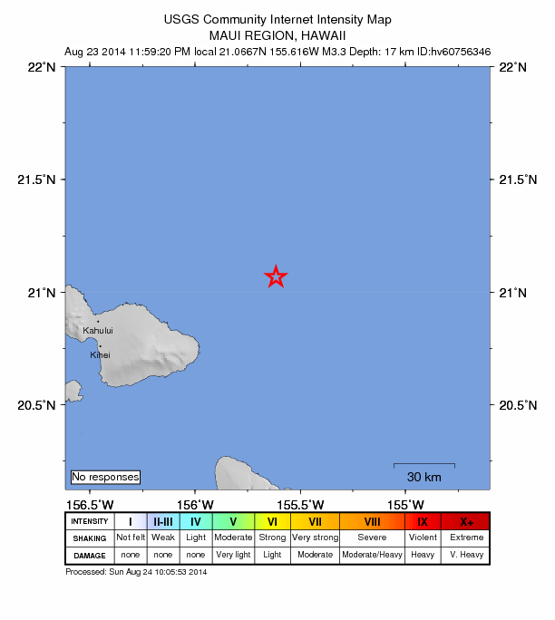 3.3 Maui area earthquake reported at 11:59 p.m. on 8/23/14. Image courtesy USGS National Earthquake Information Center, and HVO.