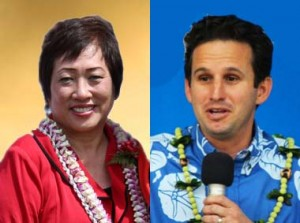 Colleen Hanabusa (left - image courtesy hanabusaforhawaii.com) and Brian Schatz (right - photo by Wendy Osher).