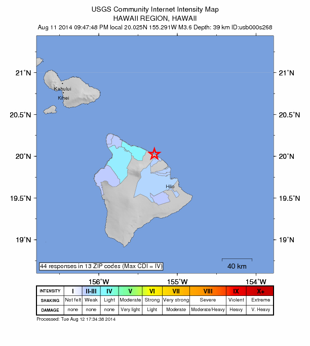 Honokaʻa earthquake, 9:47 p.m. HST on Monday, Aug. 11, 2014. Image courtesy Hawaiian Volcano Observatory/USGS.