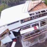 Drone footage of a damaged house in East Hawai'i. Image courtesy @PrimeFootage.