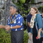 Hawaii gubernatorial candidate and state Sen. David Ige (center) shakes hands with Maui High School robotics adviser and teacher Keith Imada at Saturday's Ke Alahele Education Fund Dinner at the Grand Wailea Resort. Sen. Roz Baker (right) was also on hand. Imada's robotics team was one of several student groups interacting with supporters of Maui Economic Development Board and the STEM programs MEDB funds.