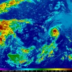 Satellite imagery of Iselle at 6:30 a.m. HST, Thursday, Aug. 7, 2014. Image courtesy CPHC/NOAA/NWS.