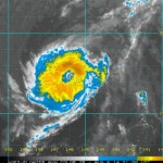 NOAA/CPHC/NOAA image of Hurricane Iselle, showing a well defined eye, with signs that shear is weakening.  2 p.m. 8/6/14.
