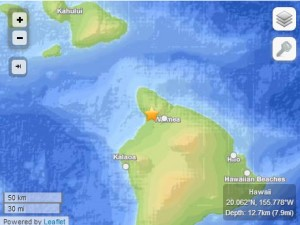 Kohala earthquake, 8/7/14. Image courtesy USGS/HVO.