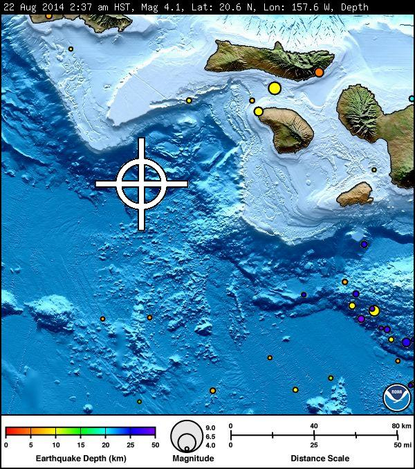 There is no tsunami threat to Hawaiʻi following a preliminary magnitude 4.1 earthquake reported at 2:37 a.m. on Friday, Aug. 22, 2014 in the deep ocean southwest of Lānaʻi.  Image courtesy Pacific Tsunami Warning Center.