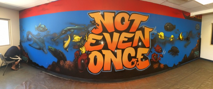 """Earlier this year, artist Ken 'East 3' Nishimura created and installed a """"Not Even Once"""" inspired mural at the Boys & Girls Clubs of Maui, Lahaina. Photo courtesy Hawaiʻi Meth Project."""