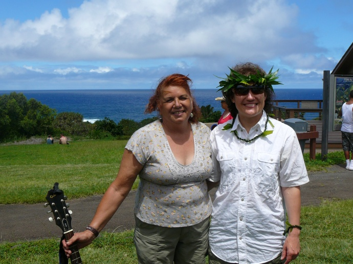 Piʻilani Lua, left, after performing music during a recent cultural demo in Kīpahulu. Courtesy photo.