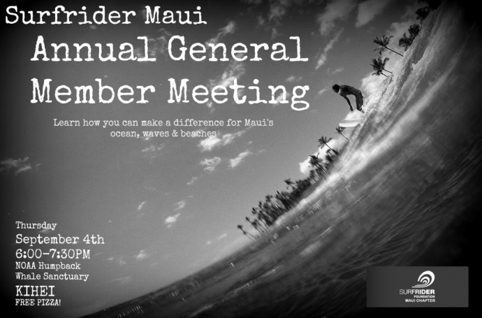 Surfrider Foundation, Maui General Information meeting flyer.
