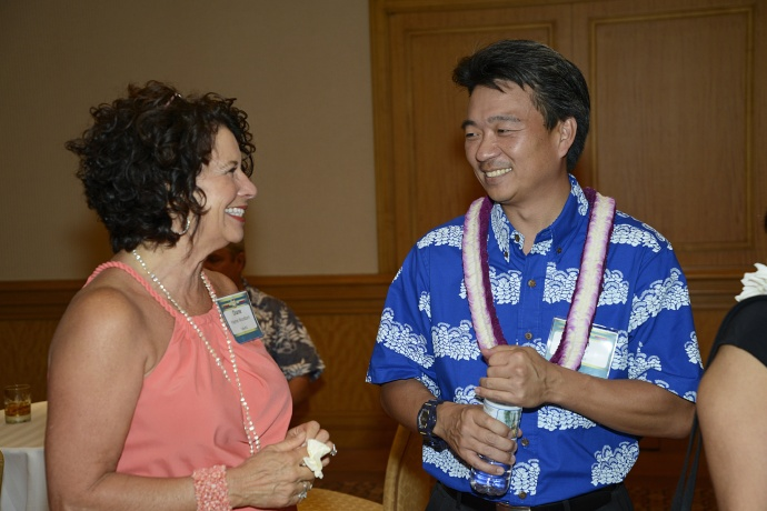 Lt. Gov. Shan Tsutsui chats with Maui No Ka Oi Magazine Publisher Diane Haynes Woodburn during a mahalo reception held just prior to the Ke Alahele Education Fund Dinner at the Grand Wailea Resort. Tsutsui and his wife, Lyndelle, along with Mayor Alan Arakawa and his wife, Ann, served as the event's 2014 Distinguished Educators. The Ke Alahele Education Fund raises money for Science, Technology, Engineering and Math (STEM) programs in Maui County.