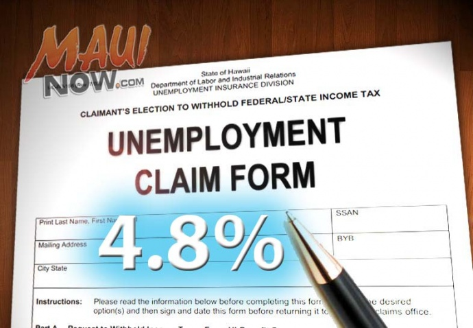 Maui County's unemployment rate fell to 4.8% in July. Maui Now graphic by Wendy Osher.