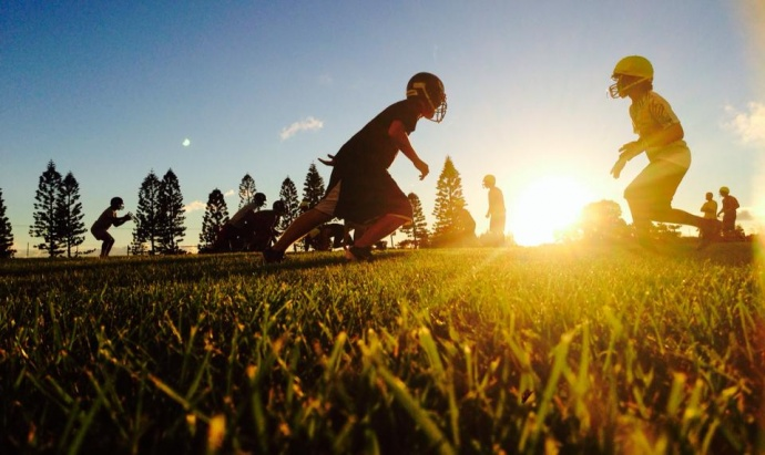Lanai High School 8-man football team practice. Photo courtesy of Lanai Football Facebook Page.