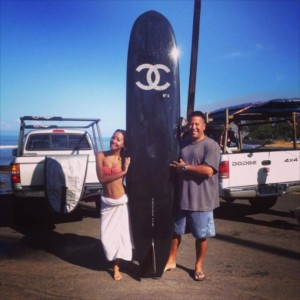 One of the stolen surfboards is pictured here. Courtesy photo, Souza family.