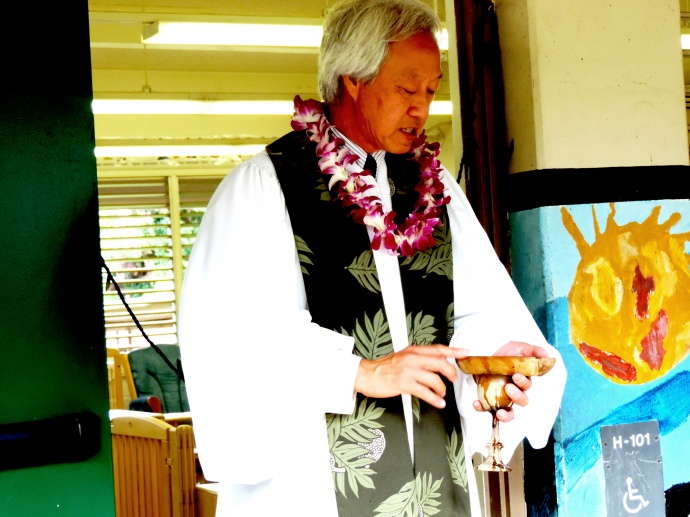 Kahu Kalani Wong of Kamehameha Schools, Maui Campus performs the blessing. Courtesy photo.