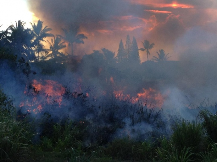 Kūʻau Brush Fire. Photo courtesy Maui Fire Department.