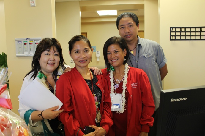 (right): Judy Kodama; Juliet Arcibal, staff RN; Ruby Matsui, (back row): Wei Liu, Biomed Tech. Photo courtesy MMMC.