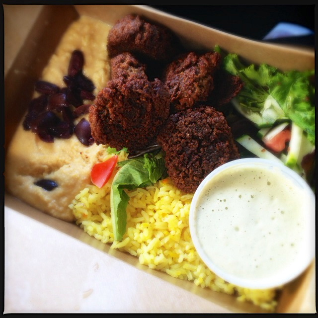 The Mediterranean Plate provides a smorgasbord of Middle Eastern options. Photo by Vanessa Wolf